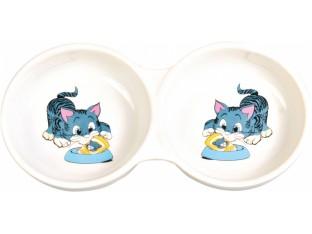 Миска керамическая двойная для кошек 2x150мл/11см Trixie 4014
