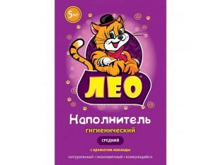 Бентонитовый наполнитель Leo №2 средний (1,5-2,5мм) с ароматом лаванды 5 кг