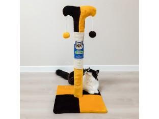 Когтеточка для кошек Клоун Д02 Природа 37x37x70см желтая с черным