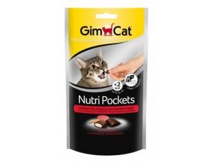 GimCat Nutri Pockets говядина и солод хрустящие подушечки для кошек 60гр