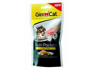 GimCat Nutri Pockets сыр и таурин хрустящие подушечки для кошек 60гр