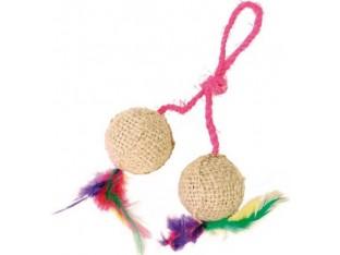 Мячи джутовые с перьями на шнуре 4,5см Trixie 4501