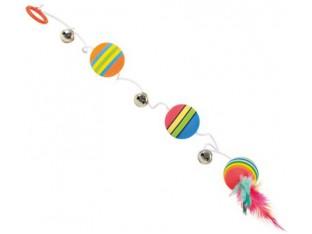 Мячи на шнуре с колокольчиками и перьями 80см Trixie 4133