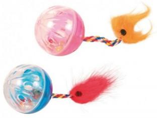 Мячики звенящие с хвостом для кошек 4 см (2шт) Trixie 4165