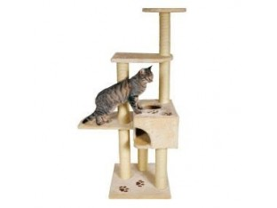 Домик-когтеточка для кошек Alicante 45x45x142см Trixie 43861 бежевая