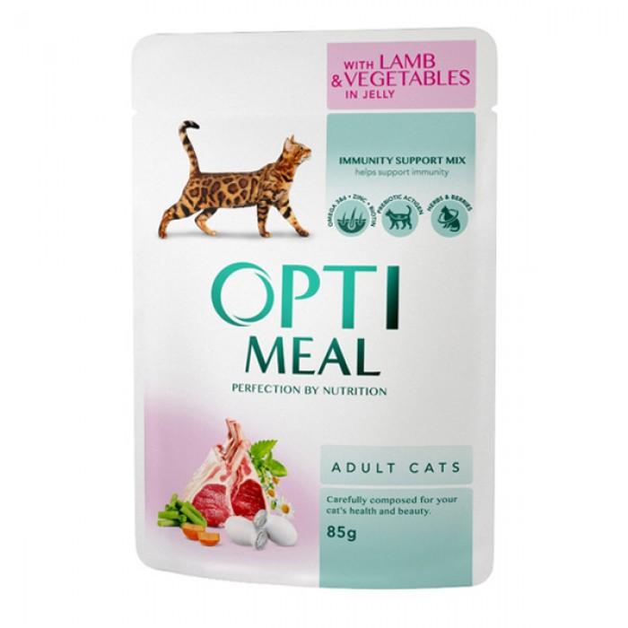 Optimeal для котов с ягненком и овощами в желе