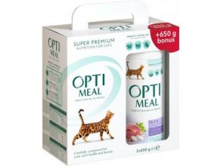 Optimeal для выведения шерсти с уткой для взрослых кошек 650гр+650гр в подарок