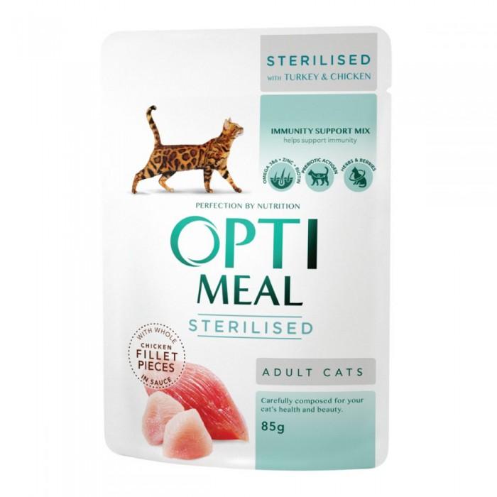 Optimeal для стерилизованных кошек с индейкой и куриным филе в соусе