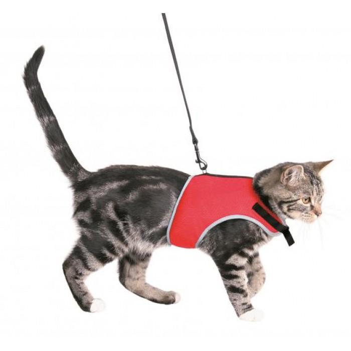 Шлейка мягкая с поводком для кошек 24-42см/1,2м Trixie 41896