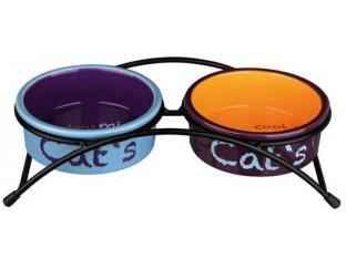 Стояк + 2 керамические миски для кота Trixie 24791