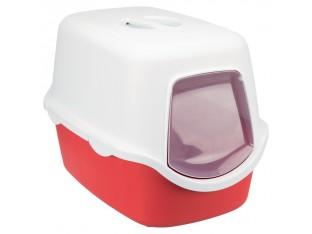 Туалет для кошек закрытый с дверцей Vico Trixie 40273 коралловый/белый