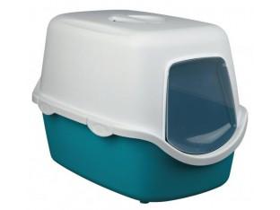 Туалет для кошек закрытый с дверцей Vico Trixie 40275 аквамарин/белый