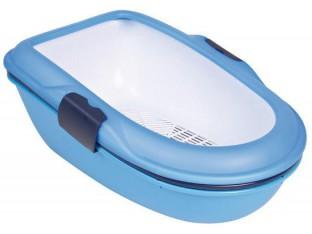 Туалет для кота Berto с бортиком и сеткой Trixie 40152 синий/гранит