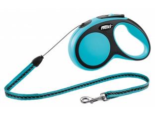 Flexi New Comfort рулетка-поводок для собак 8м/12кг трос синяя