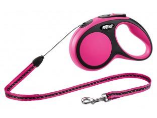 Flexi New Comfort рулетка-поводок для собак 5м/12кг трос розовая