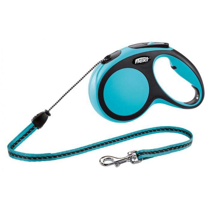 Flexi New Comfort рулетка-поводок для собак 8м/20кг трос синяя