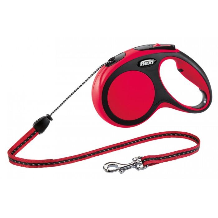 Flexi New Comfort рулетка-поводок для собак 5м/20кг трос красная