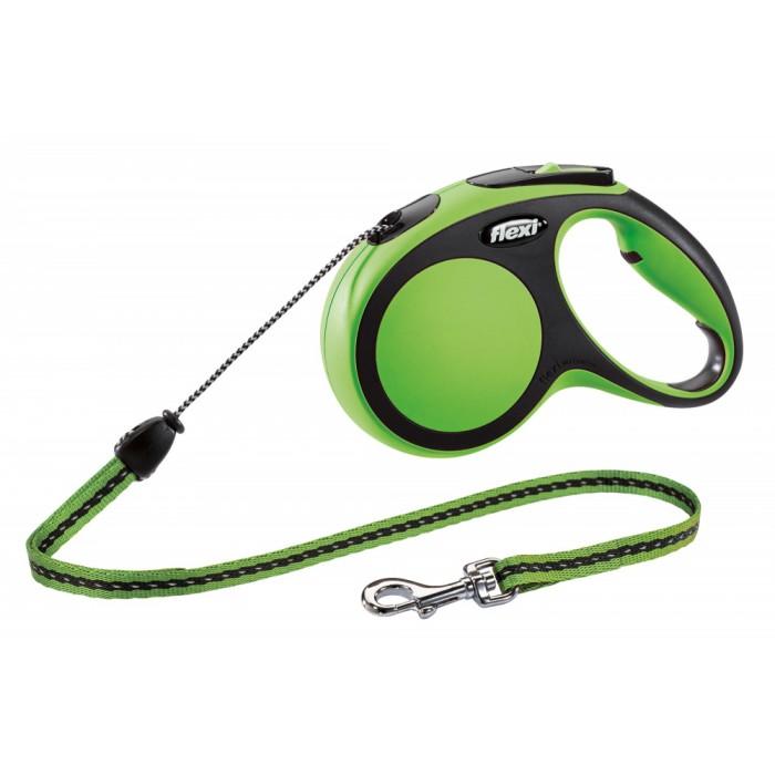 Flexi New Comfort рулетка-поводок для собак 5м/20кг трос зеленая