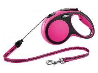 Flexi New Comfort рулетка-поводок для собак 5м/20кг трос розовая