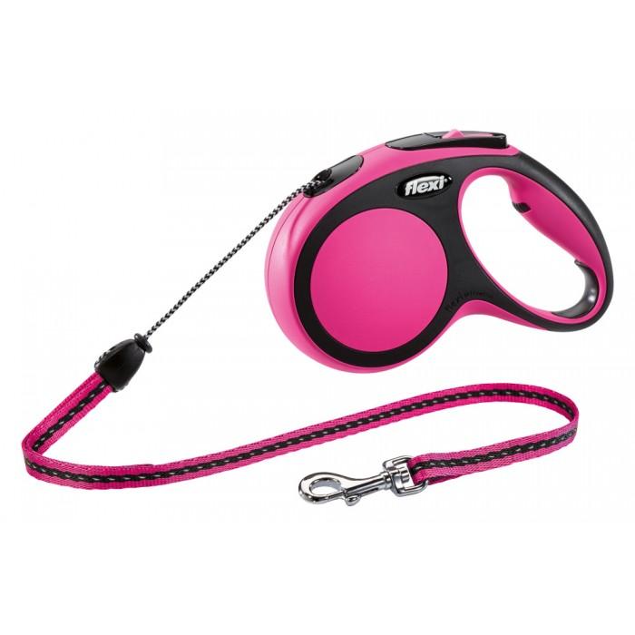 Flexi New Comfort рулетка-поводок для собак 8м/20кг трос розовая