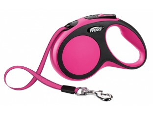 Flexi New Comfort рулетка-поводок для собак 3м/12кг лента розовая
