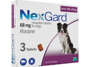 NexGard (Нексгард) таблетки от блох и клещей для собак весом 10-25кг 1уп/3тб