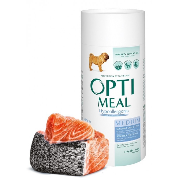 Optimeal гипоаллергенный с лососем для собак средних пород 650гр+650гр в подарок