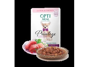Optimeal беззерновой влажный корм для собак мелких пород с телятиной и куриным филе 85гр